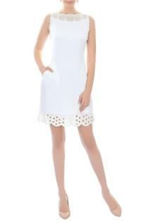 White cutout work short dress