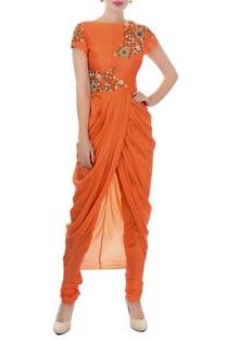 Orange embroidered kurta & churidar