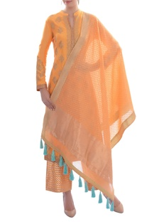 Orange embellished kurta set