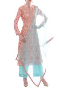 Pink & blue embellished kurta set