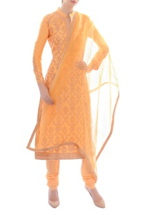 Light orange embellished kurta set