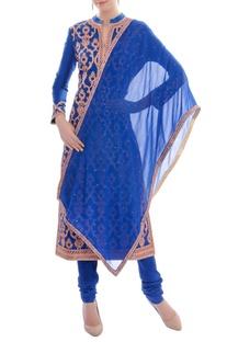 Royal blue embellished kurta set