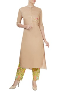 Beige kurta with embroidered pants