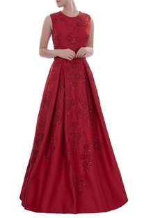 Deep red sleeveless gown with floral sequins