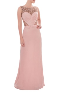 Blush pink sleeveless gown with sequin embroidery