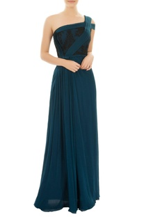 Teal one shoulder gown with pleated details