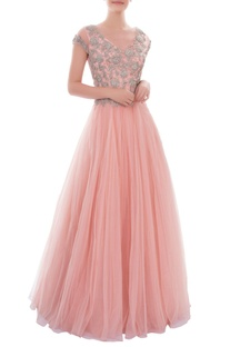 Light pink gown with silver floral embroidery