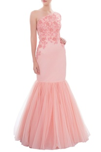 Light pink bead embroidered fit & flare gown