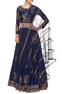 Navy blue embroidered lehenga set