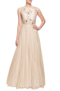 Ivory flared embroidered gown