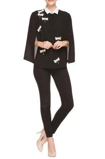 Black dragonfly cape shirt