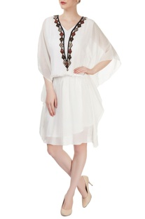 White embellished kaftan dress