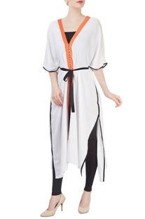 White kaftan with belt