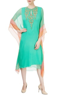 Sea green embroidered kaftan