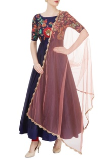 Navy blue embroidered anarkali.