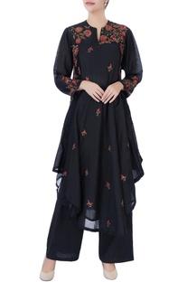 Black asymmetric kurta & pants