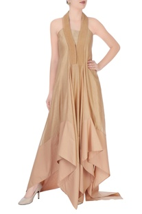 Beige maxi dress with halter neck style