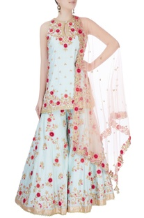 Blue floral embroidered sharara set