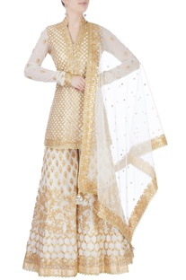 White embroidered sharara set