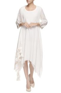 White asymmetric tassel kurta