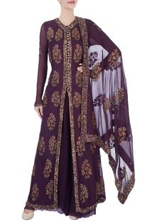 Burgundy brown jacket with palazzos & dupatta