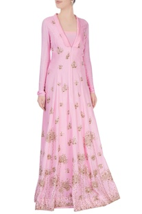 Powder pink gown with goldwork detailing