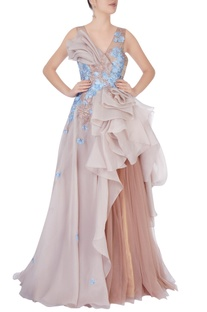 Beige elaborate ruffle gown