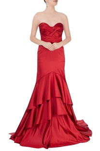 Red strapless tiered gown