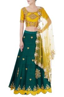 Green & yellow sequin embellished lehenga