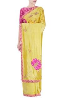 Pink & yellow embellished sari