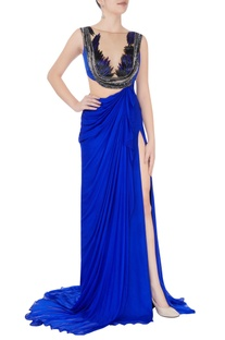 Blue Grecian style gown