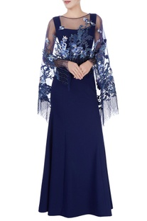 Navy blue gown & sequin cape