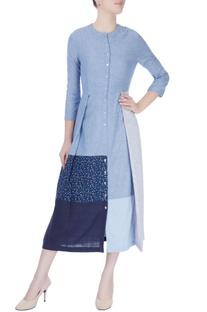 Sky blue panelled midi dress