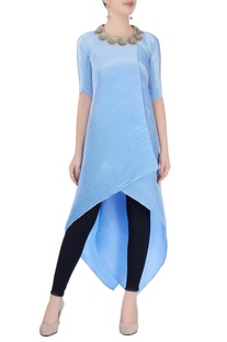 Sky blue asymmetric tunic