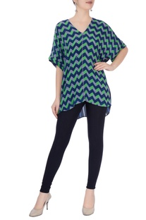 Green & blue geometric print blouse