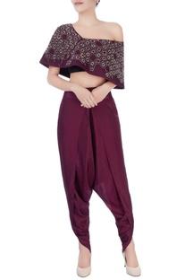 Burgundy brown top & dhoti pants