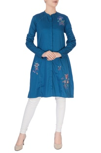 Blue floral embroidered kurta