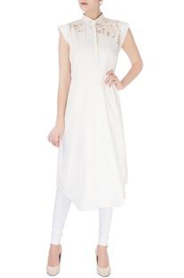 White embroidered long kurta