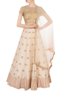 Ivory embroidered work lehenga set