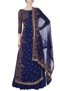 Blue thread embroidered kurta with lehenga & dupatta