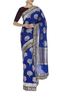 Brocade embroidered sari with unstitched blouse