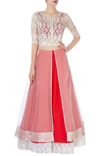 Red lehenga with embroidered border