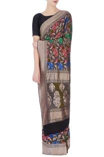 Black bandhani sari