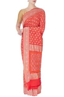 Red bandhani brocade sari