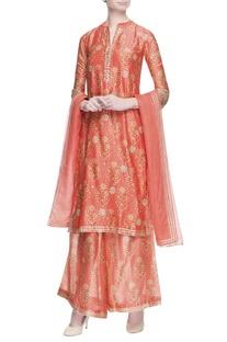 Orange floral printed kurta set