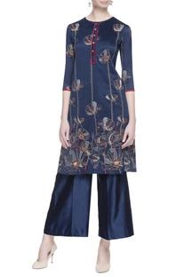 Blue chanderi embroidered kurta