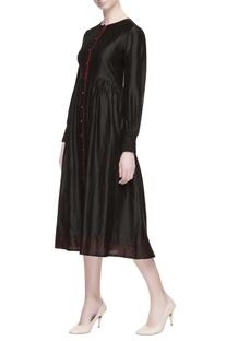 Black chanderi silk midi dress