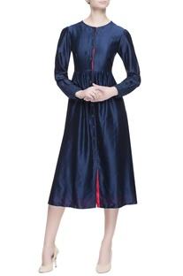 Blue chanderi silk midi dress