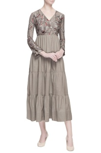 Grey tiered style maxi dress