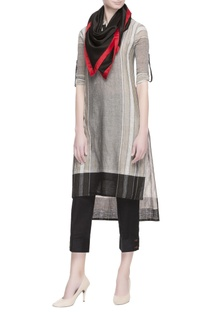 Grey stripe pattern kurta